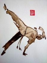Illustration : Capoeira – 719 [ #capoeira #watercolor #illustration] aquarelle sur papier 325gr / watercolor on paper 325gr 24 x 32 cm / 9.4 x 12.6 in
