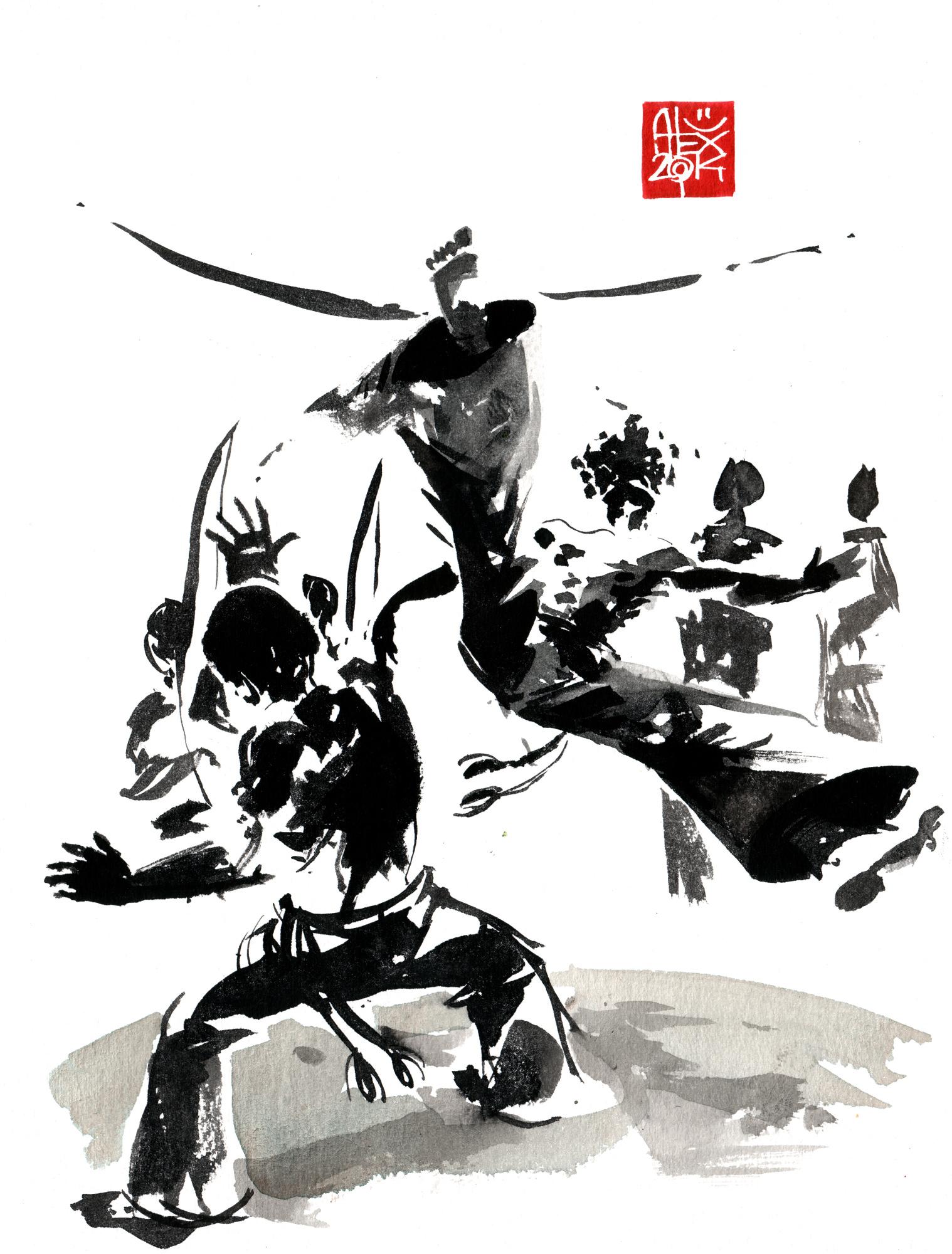 Illustration : Capoeira – 733 [ #capoeira #watercolor #illustration] aquarelle sur papier 325gr / watercolor on paper 325gr 24 x 32 cm / 9.4 x 12.6 in