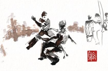 Illustration : Capoeira – 734 [ #capoeira #watercolor #illustration] aquarelle sur papier 325gr / watercolor on paper 325gr 24 x 16 cm / 9.4 x 6.3 in