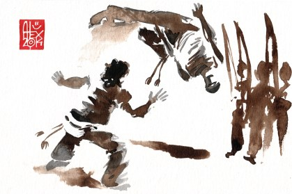 Illustration : Capoeira – 735 [ #capoeira #watercolor #illustration] aquarelle sur papier 325gr / watercolor on paper 325gr 24 x 16 cm / 9.4 x 6.3 in