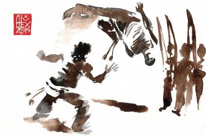 Illustration : Capoeira – 735 [ #capoeira #watercolor #illustration] aquarelle sur papier 325gr / watercolor on paper 325gr 24 x 16 cm / 9.4 x 6.3 in