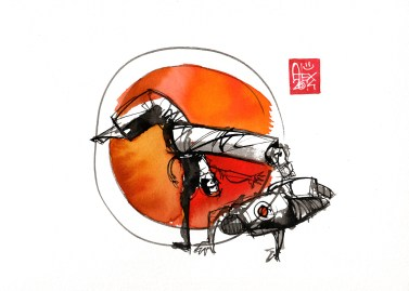Illustration : Capoeira – 758 [ #capoeira #watercolor #illustration] aquarelle sur papier 325gr / watercolor on paper 325gr 24 x 32 cm / 9.4 x 12.6 in