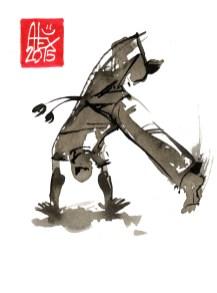 Illustration : Capoeira – 771 [ #capoeira #watercolor #illustration] aquarelle sur papier 325gr / watercolor on paper 325gr 12 x 16 cm / 4.7 x 6.30 in
