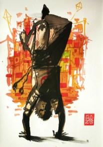 Illustration : Capoeira – 772 [ #capoeira #watercolor #illustration] encre sur toile / Ink on canvas 29.7 x 42 cm / 11.7 x 16.5 in