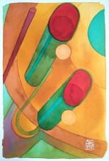 Illustration : Capoeira – 776 [ #capoeira #watercolor #illustration] encre sur toile / Ink on canvas 29.7 x 42 cm / 11.7 x 16.5 in