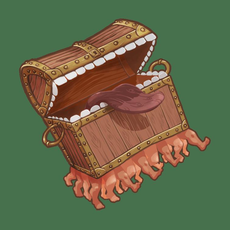 Image représentant un coffre avec des petites jambes. Son couvercle est ouvert sur une langue en bois rouge et deux grosses rangées de dents.