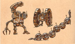 Un bidule robot, un machin robot et une chenille robot