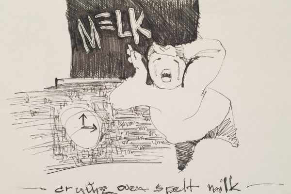 Melk. Quick sketch towards a cartoon illustration.