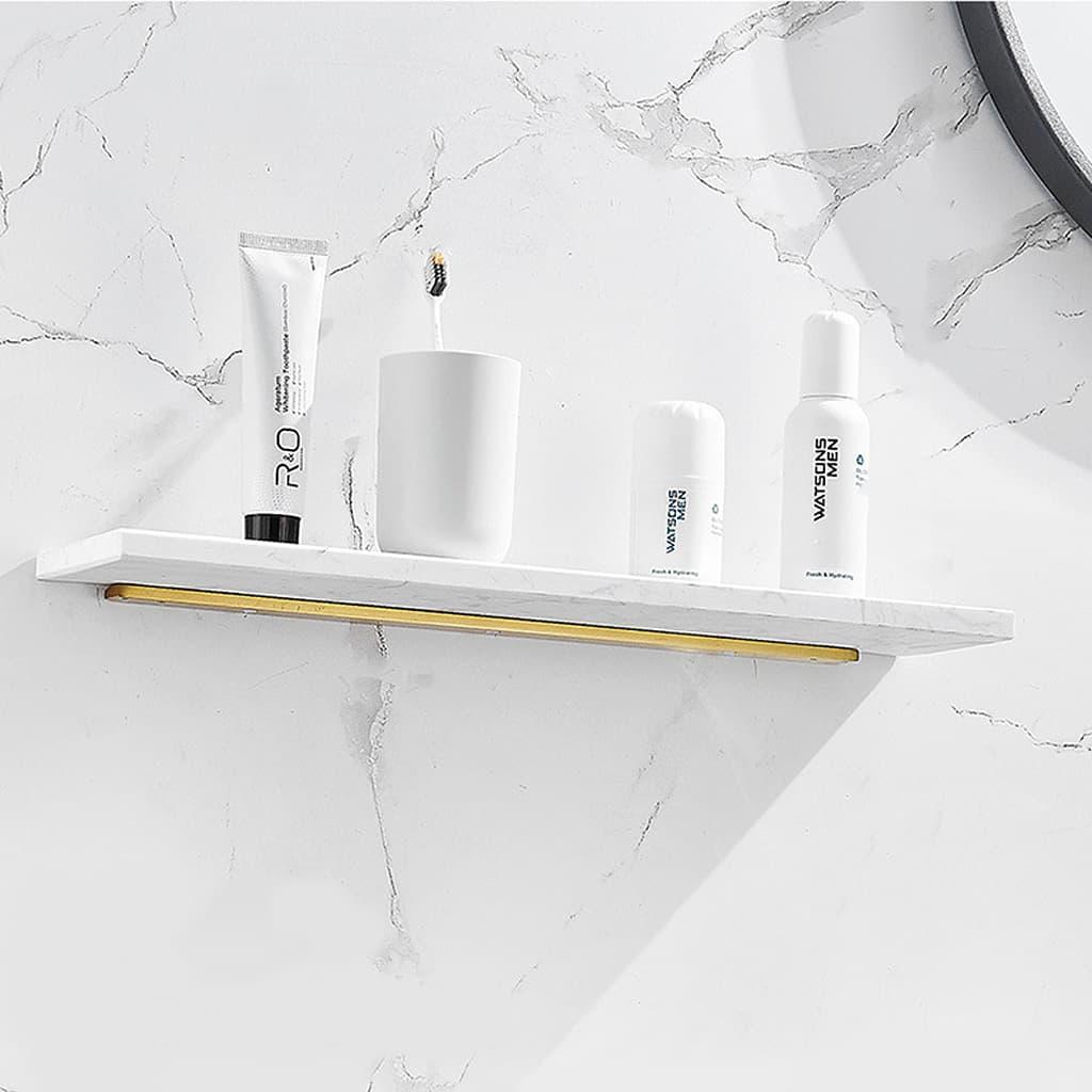 etagere murale marbre blanc fixation invisible aluminium dore