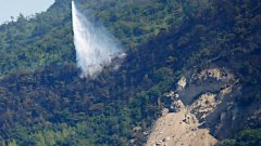 江田島山火事ヘリコプターによる消火活動