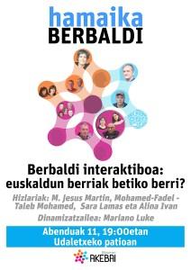 """Hamaika Berbaldi: """"Berbaldi interaktiboa: euskaldun berriak betiko berri?"""" @ Udaletxeko patioan"""