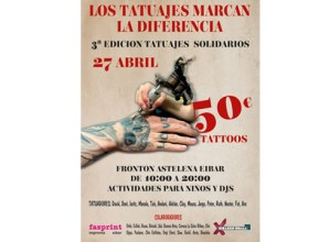 Tatuaje solidarioen hirugarren edizioa apirilaren 27an izango da Astelena frontoian