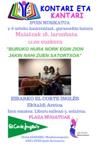 Kontari eta Kantari ipuin musikatua euskeraz @ El Corte Inglesean (ekitaldi aretoan)