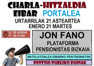 """Hitzaldia: """"Pentsio publiko duinak"""" @ Portalean"""