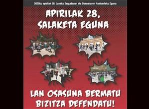 """Euskal gehiengo sindikalak salaketa eguna deitu du, """"Lan osasuna bermatu, bizitza defendatu"""" goiburupean"""