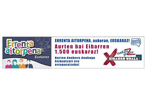 'Aurten bai, Eibarren 1.500 euskaraz!' errenta aitorpena euskaraz egiteko kanpaina martxan