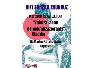 """""""Zaintza-lanen demokratizaziorantz"""" hitzaldia emango dute gaur, 18:30ean Portaleko areto nagusian"""