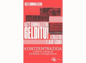 """Gazte Koordinadora Sozialistak """"gazte kriminalizazioa salatzeko"""" kontzentrazioa deitu du gaurko"""