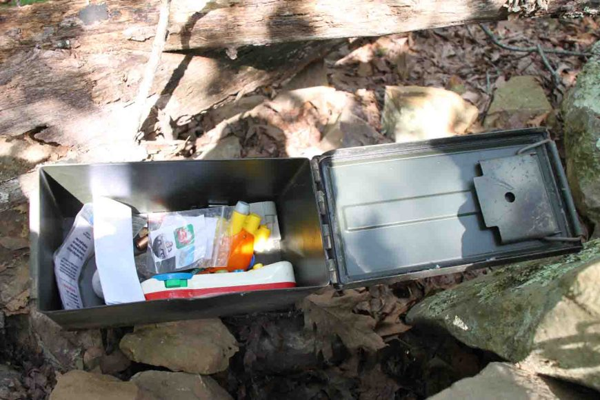 geocaching, mount nebo state park, ammo can