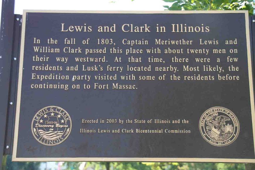sign commemorating lewis and clark in illinois