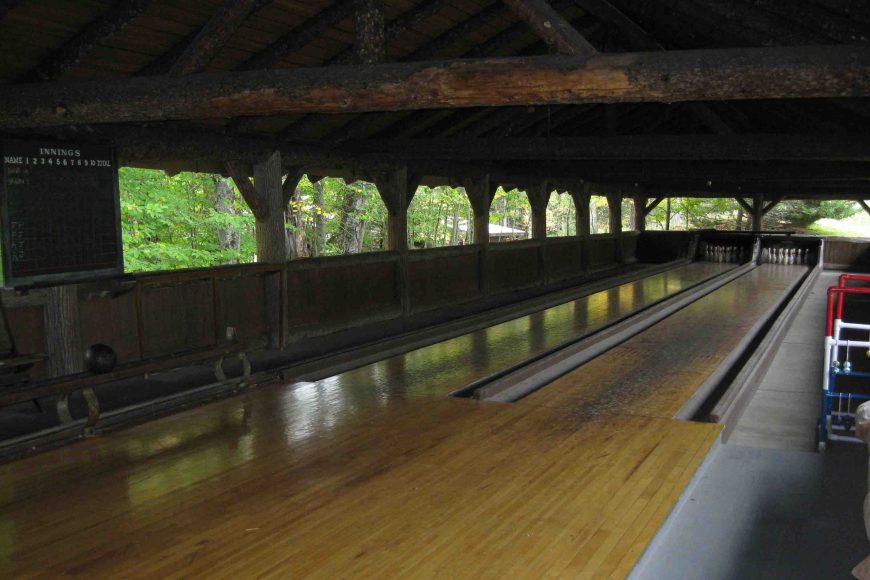 bowling alley at great camp sagamore