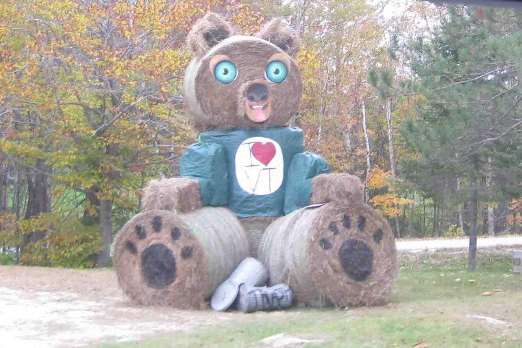 teddy bear hay bale sculpture near Killington, Vermont