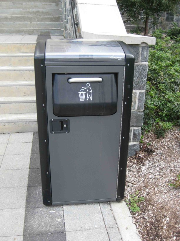 solar trash compactor at west point