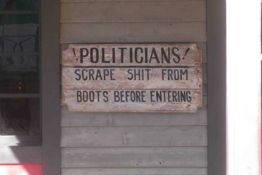 politicians, scrape shit from boots before entering