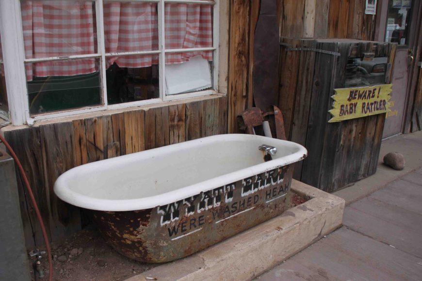 bathtub at Tortilla Flat on arizona's apache trail