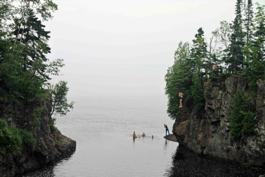 cliff jumping on the north shore