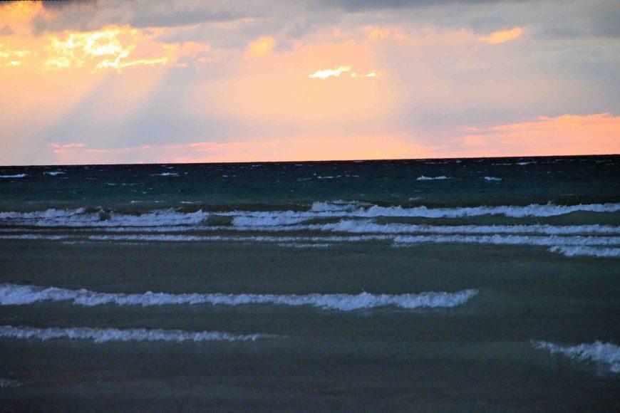 sunset in Mackinaw City