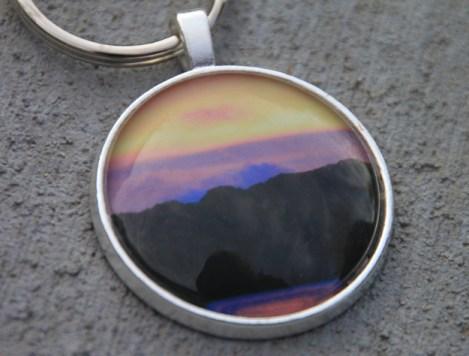 purple sky keychain closeup