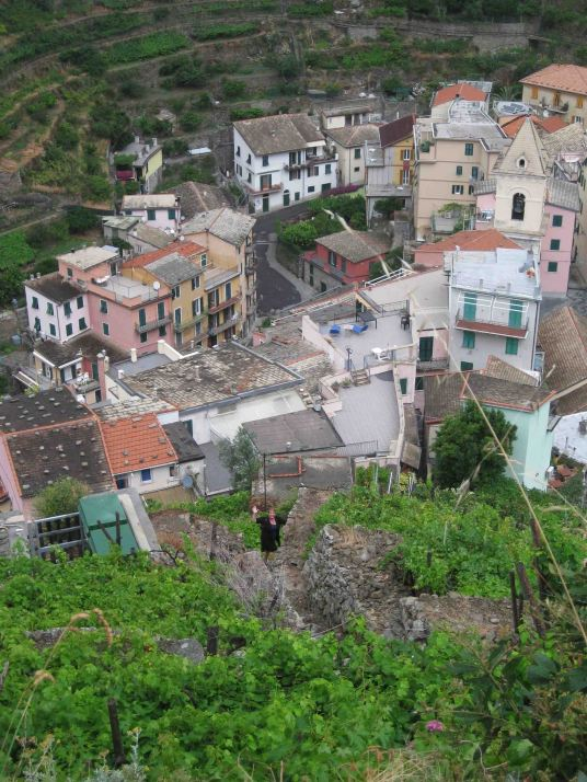 Climbing the stairs to Riomaggiore...not the easy way to dinner!