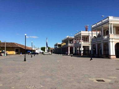colonial buildings near plaza