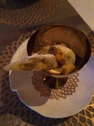 pineapple cigar and pistachio ice cream