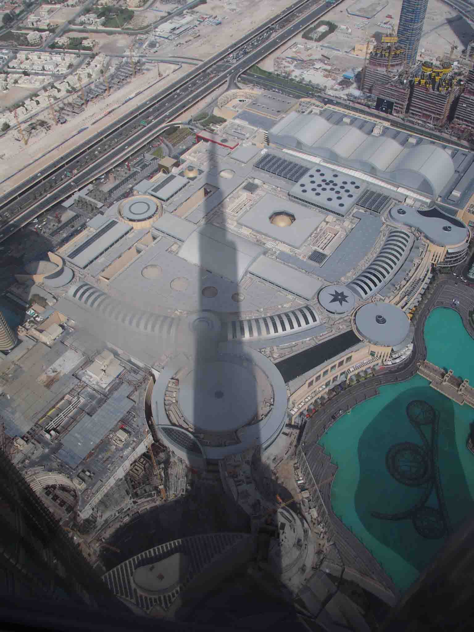 shadow of Burj Khalifa on Dubai mall