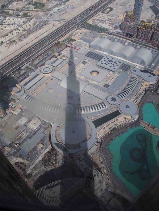 shadow of Burj Khalifa on mall