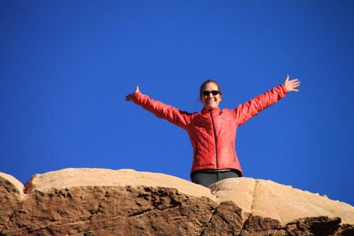 me on natural bridge in the wadi rum desert