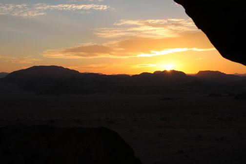 sunset in the wadi rum desert