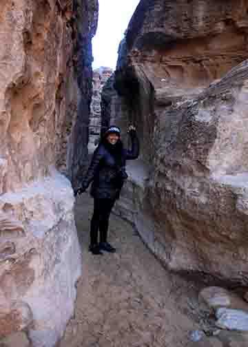Syreeta in narrow entrance to little petra