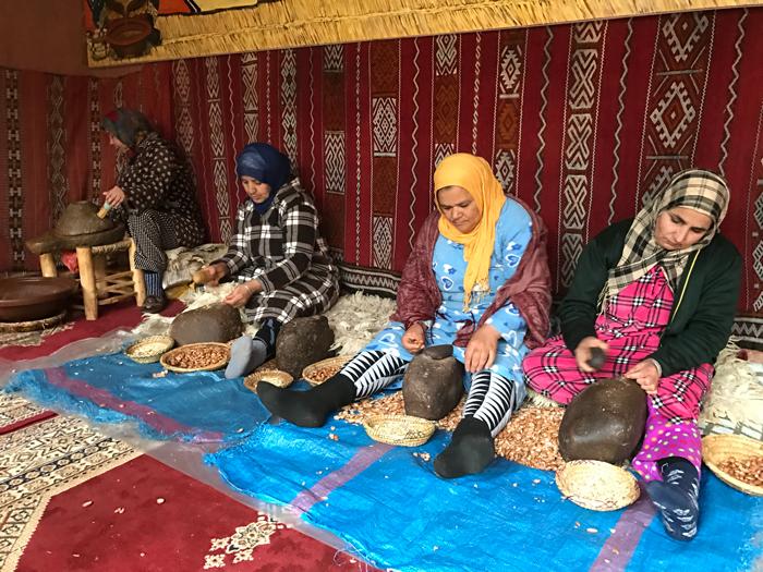women producing argan oil in morocco