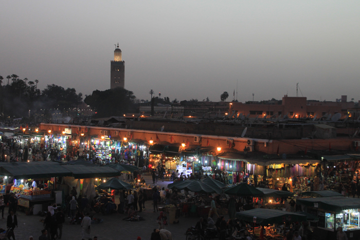 main square at marrakesh medina
