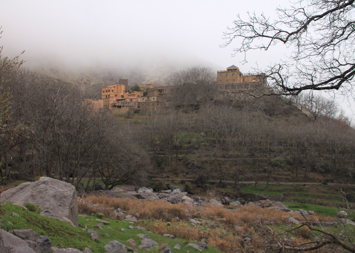 view of village in the high atlas mountains