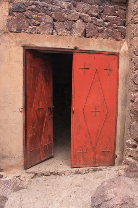 red door in the high atlas mountains