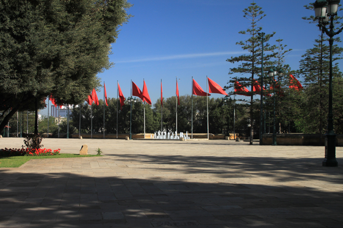 flags at the royal palace in casablanca