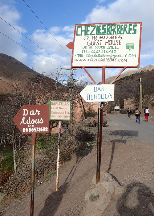 signs to our riad in the high atlas mountains