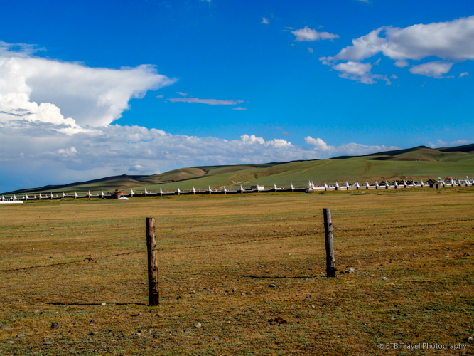 monastery wall near excavation site in mongolia