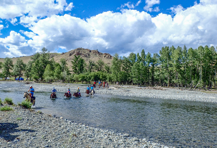 crossing the Tamir river in Mongolia