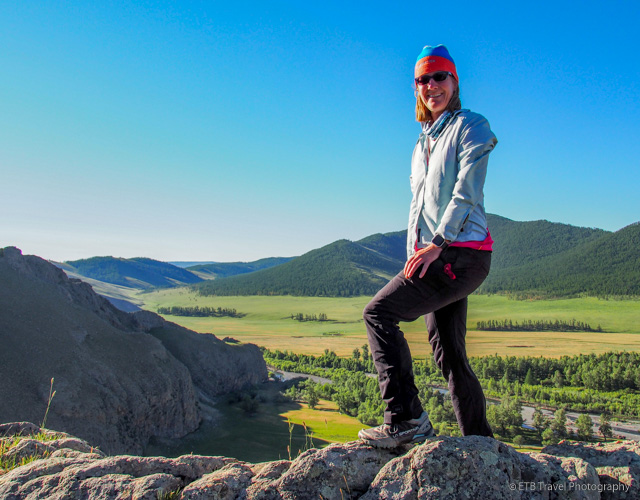hiking in the Mongolia Steppe