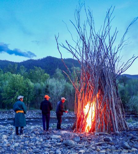 Cowboys starting the bonfire